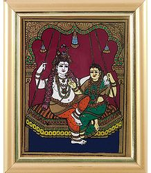 Radha Krishna on a Swing - Tanjore Glass Painting