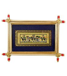 Tribal Farmers of India - Tribal Painting on Palm Leaf - Framed