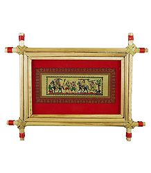 Hunters Procession - Tribal Painting on Palm Leaf - Framed
