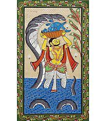 Vasudev Carrying New Born Krishna from Mathura to Vrindavan
