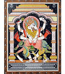 Vishnu as Narasimha Avatar Killing Demon Hiranyakashipu