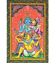 Garuda Carrying Vishnu and Lakshmi on His Shoulder - Orissa Pattachitra Painting