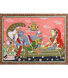 Vishnu Resting on Sheshnaga with Lakshmi Accompanied by Lord Brahma and Saraswati