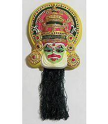 Arjuna Mask from Mahabharata in Kathakali Style - Wall Hanging