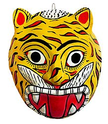 Saw Dust Tiger Cheriyal Mask for Wall Decoration