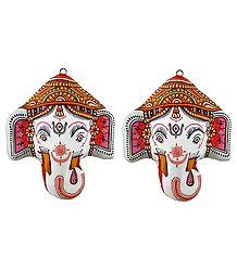 Pair of Ganesha Papier Mache Mask - Wall Hanging