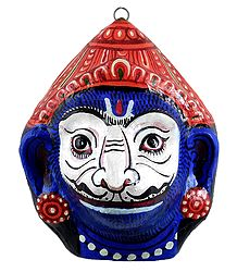 Papier Mache Mask of Jambavan - Wall Hanging