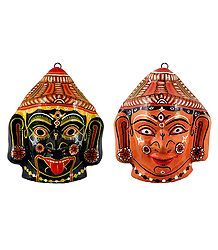 Kali and Durga Papier Mache Mask - Wall Hanging