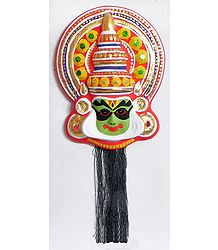 Face of Arjuna from Mahabharata in Kathakali Style - Wall Hanging