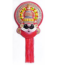 Face of Dushasan from Mahabharata in Kathakali Style - Wall Hanging