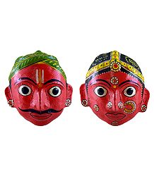 Couple Masks from Andhra Pradesh - Wall Hanging