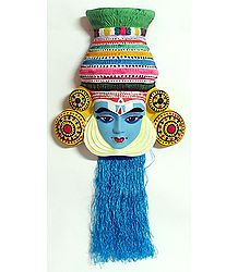 Krishna Mask from Mahabharata in Kathakali Style - Wall Hanging