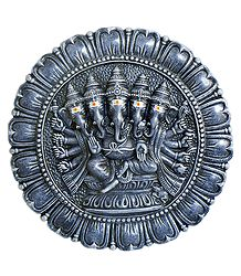 Panchamukhi Ganesha on a Lotus Plate