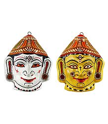 Papier Mache Mask of Shiva and Durga