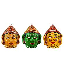 Rama, Lakshmana and Sita Papier Mache Mask - Wall Hanging