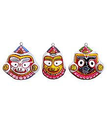 Jagannath,Balaram and Subhadra Mask - Wall Hanging
