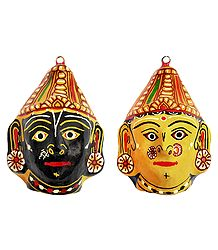 Shop Online Papier Mache Mask of Radha & Krishna