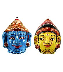 Papier Mache Mask of Radha and Krishna