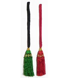 Set of 2 Parandi - For Hair Braids with Red and Green Tassels