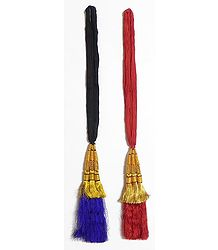 A Pair of Parandi - For Hair Braids with Purple and Red Tassels