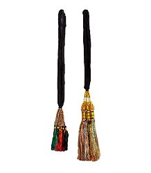 Set of 2 Parandi - For Hair Braids with Multicolor Tassels