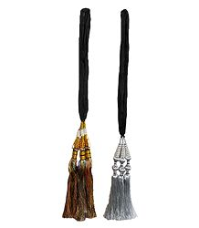 Set of 2 Parandi - For Hair Braids with Multicolor and Silver Tassels