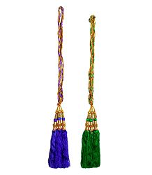 Set of 2 Parandi - For Hair Braids with Green and Purple Tassels