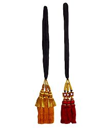 Set of 2 Parandi - For Hair Braids with Red and Yellow Tassels