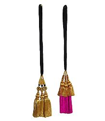 Set of 2 Parandi - For Hair Braids with Golden and Magenta Tassels