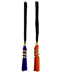 Set of 2 Parandi - For Hair Braids with Saffron and Purple Tassels