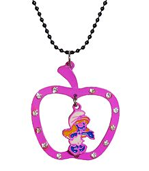 Black Chain with Magenta Apple Shaped Pendant