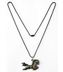 White Beaded Chain with Horse Pendant