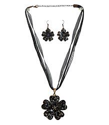 Black Flower Metal Pendant and Earrings