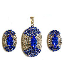 Blue and White Stone Studded Oval Shaped Pendant and Earrings