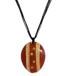 Coconut Shell Pendant with Cord
