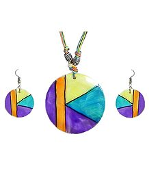 Multicolor Lacquered Shell Pendant Set