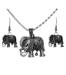 Oxidized Metal Chain with Elephant Pendant and Earrings