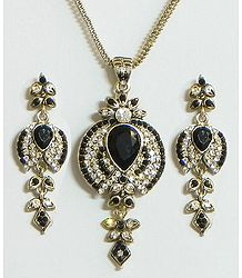 Black and White Stone Studded Pendant with Chain and Earrings