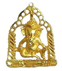 Gold Plated Pendant - Ganesha Sitting on Swing