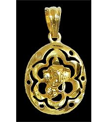 Gold Plated Pendant - Ganesha in a Flower