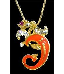 Gold Plated and Stone Studded Om Pendant