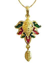 Gold Plated Chain with Meenakari Pendant