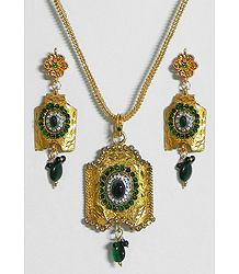 Gold Plated Jali Chain with Green Stone Studded  Pendant and Earrings