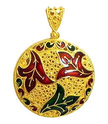 Gold Plated Laquered Pendant