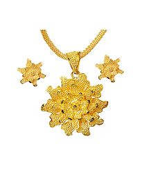 Gold Plated Chain with Flower Pendant and Earrings