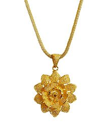 Gold Plated Chain with Flower Pendant