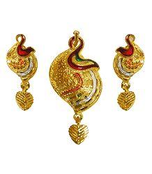 Gold Plated Meenakari Pendant with Earrings