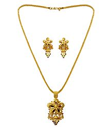 Buy Gold Plated Pendant with Chain and Earrings