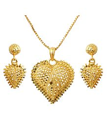 Gold Plated Chain with Heart Pendant and Earrings