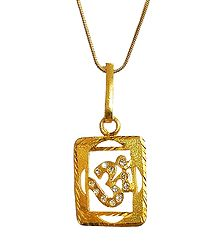 Stone Studded Om Pendant in a Square Frame